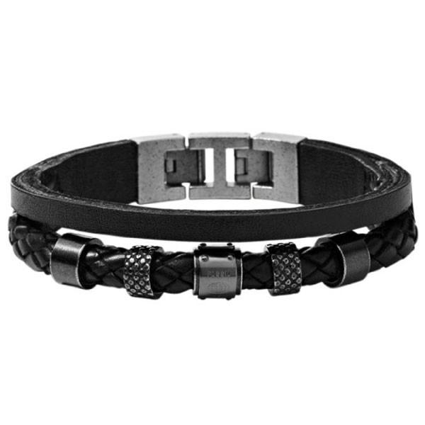 fossil jf00500 herren armband edelstahl leder schwarz. Black Bedroom Furniture Sets. Home Design Ideas