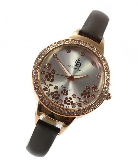 Uhr Flower rosé Quarz Strass Lederband zierliche Damenuhr Modeuhr