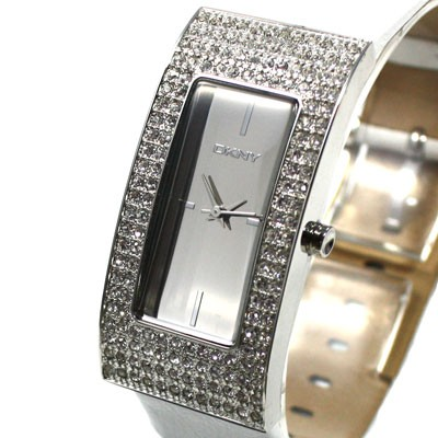 Damenuhr Leder weiß Silber Strass NY4970