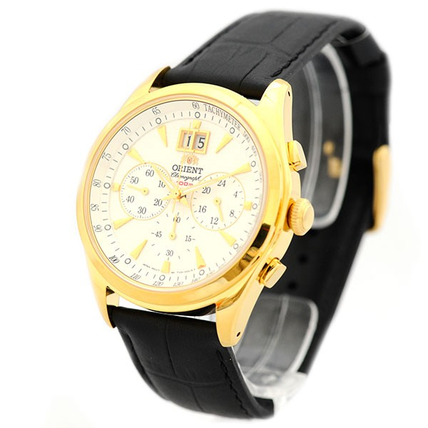 orient uhr dressy elegant quarz herrenuhr datum chrono leder sport gold ftv01002w0 uhren date herren. Black Bedroom Furniture Sets. Home Design Ideas