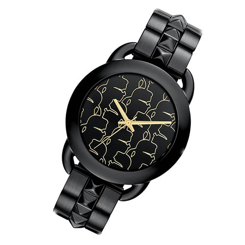 karl lagerfeld montre elegante montre pour femme gun color dor quartz montre kl2205 horloges quartz. Black Bedroom Furniture Sets. Home Design Ideas